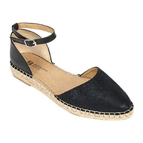 Black Flat Espadrille Pointy Toe Ankle